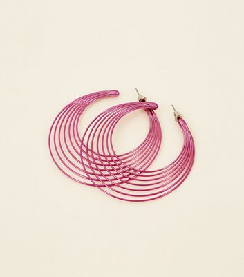 Pink Metallic Wire Hoop Earrings