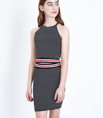 Teens Black Stripe Tube Skirt