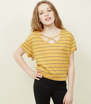Teens Yellow Stripe Lattice Front T-Shirt