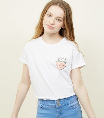 Teens White Peach T-Shirt