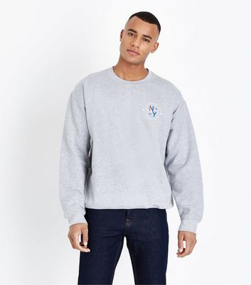 Grey Marl NY Side Print Sweatshirt