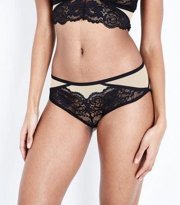 Black Strappy Lace Trim Brazilian Briefs