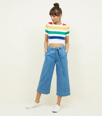 Blue Lightweight Denim Culottes