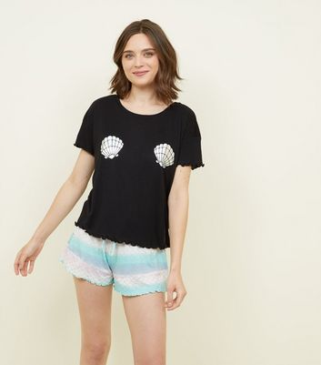Black Mermaid Frill Hem Shorts Pyjama Set
