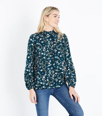 Apricot Green Floral Print High Neck Blouse by New Look
