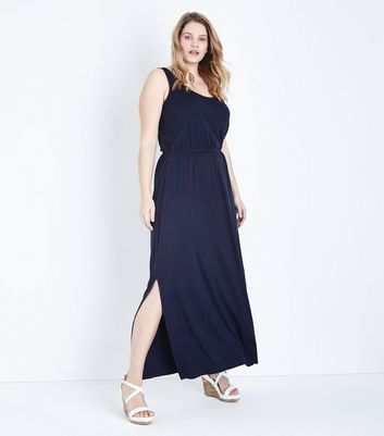 Curves Navy Sleeveless Jersey Maxi Dress