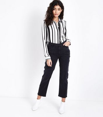 Black Cropped Straight Leg Harlow Jeans