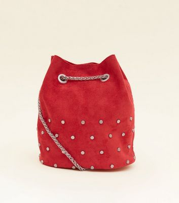 Red Suedette Studded Mini Duffle Bag