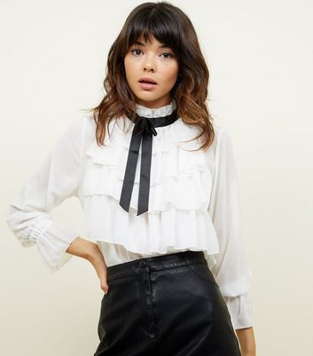 Cameo Rose White Frill Tie Neck Blouse