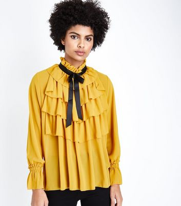 Cameo Rose Mustard Frill Tie Neck Blouse