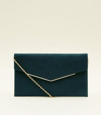 Dark Green Envelope Gold Trim Clutch