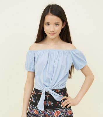 Teens Pale Blue Tie Front Bardot Top