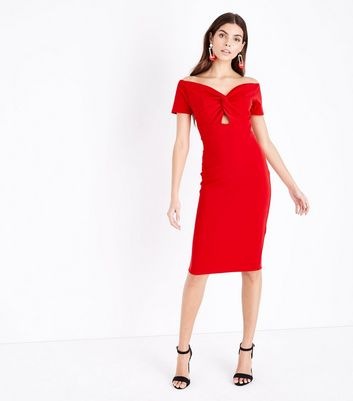 Red Twist Front Sweetheart Bodycon Midi Dress