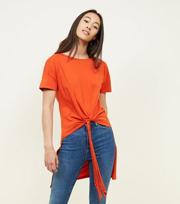 Noisy May Orange Tie Front T-Shirt