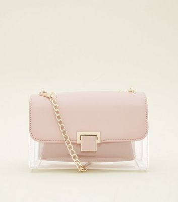 Pale Pink Clear Contrast Chain Shoulder Bag