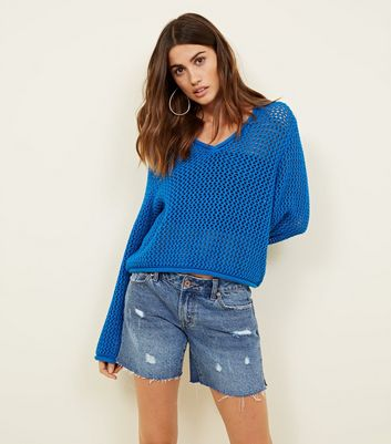Noisy May Blue Pointelle Knit Top