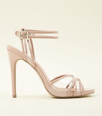 Nude Patent And Clear Cross Strap Stilettos by New Look