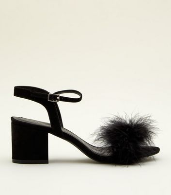 Black Suedette Faux Feather Block Heel Sandals