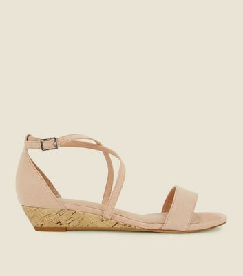 Nude Comfort Suedette Low Wedge Heel Sandals by New Look