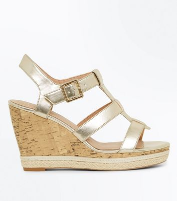 Gold Comfort Gladiator Cork Wedges