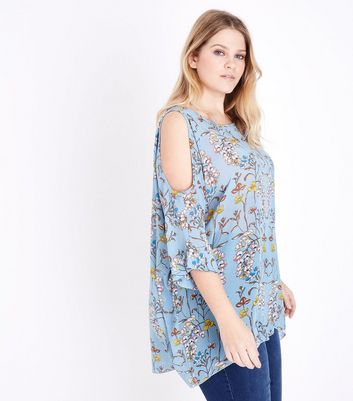 Blue Vanilla Curves Blue Floral Print Top