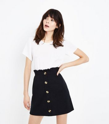 Black Button Front Paperbag Mini Skirt