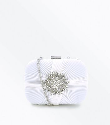 White Brooch Wedding Box Clutch Bag 				  				 					 				 			 			 					Off White Satin Twist Strap Wedding Sandals by New Look