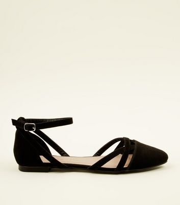 Girls Black Suedette Ankle Strap Ballet Pumps