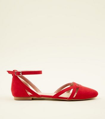 Girls Red Suedette Ankle Strap Ballet Pumps