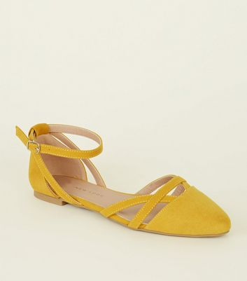 Girls Yellow Suedette Ankle Strap Ballet Pumps