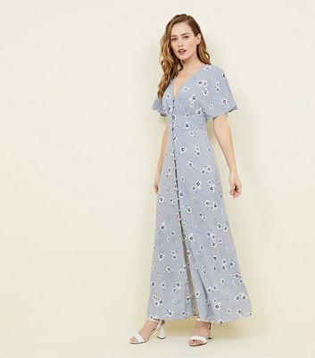 Pale Blue Floral Button Front Maxi Dress