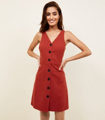Red Cross Hatch Button Front Pinafore Dress
