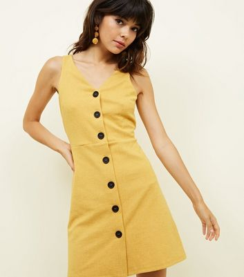 Mustard Cross Hatch Button Front Pinafore Dress