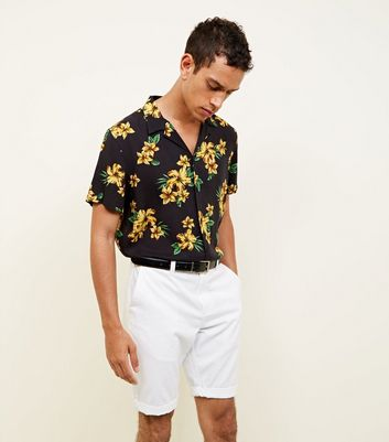 Black and Mustard Floral Print Short Sleeve Shirt