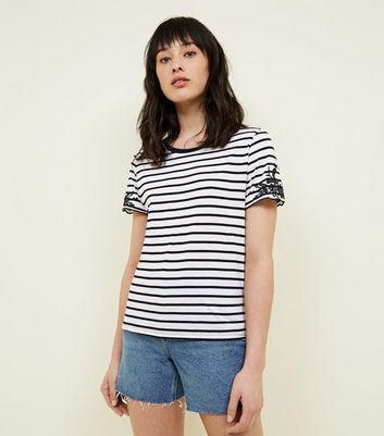 White Stripe Embroidered Sleeve T-Shirt