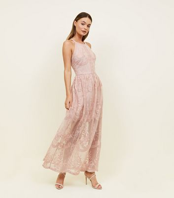Mid Pink Mesh Embroidered Halterneck Maxi Dress by New Look