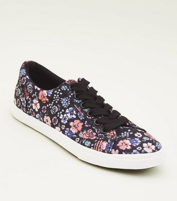 Girls Black Floral Canvas Lace Up Trainers