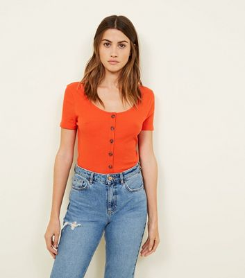Orange Button Front Ribbed T-Shirt