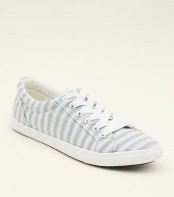 Teens Blue Canvas Stripe Lace Up Trainers