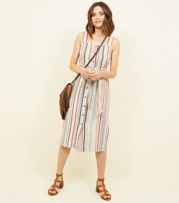 Off White Stripe Linen-Look Button Up Midi Dress