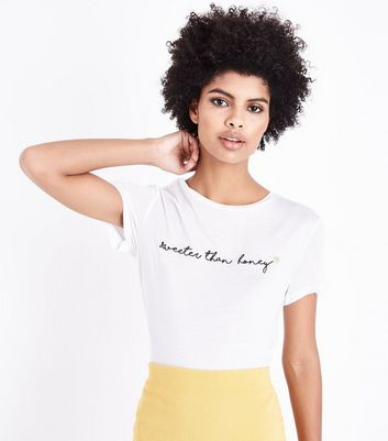 White Sweeter Than Honey Embroidered T-Shirt