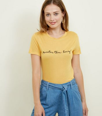 Mustard Sweeter Than Honey Slogan T-Shirt
