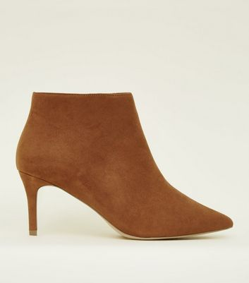 Wide Fit Tan Suedette Stiletto Heel Ankle Boots