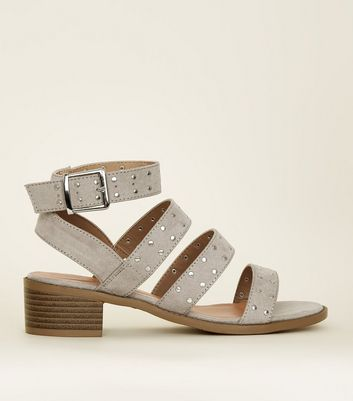 Teens Grey Suedette Studded Strappy Sandals