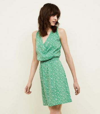 Tall Green Ditsy Floral Wrap Front Dress