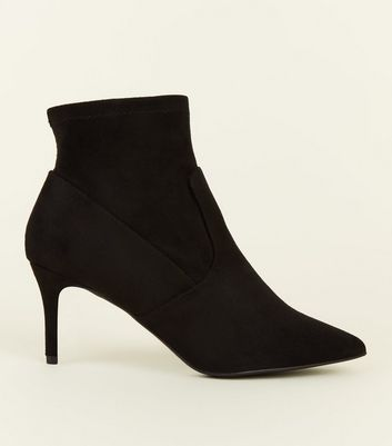 Wide Fit Black Suedette Stiletto Sock Boots