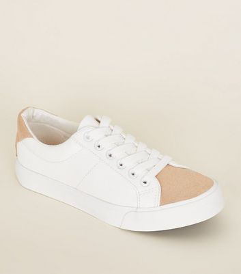 Teens Rose Gold Shimmer Toe Lace Up Trainers