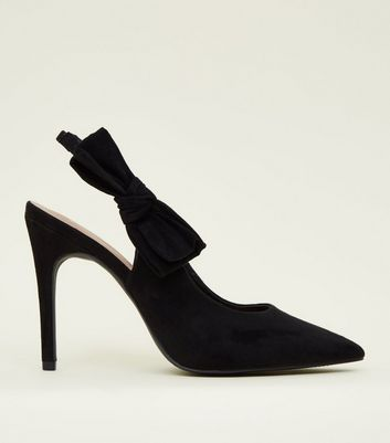 Wide Fit Black Suedette Bow Slingback Courts