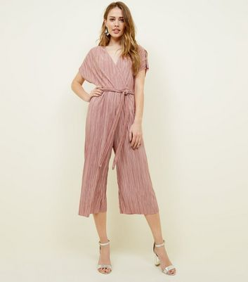 Pale Pink Plissé Wrap Front Culotte Jumpsuit by New Look