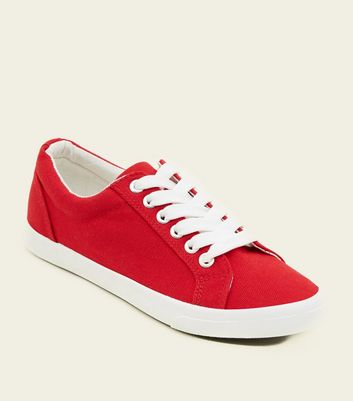 Girls Red Canvas Lace Up Trainers